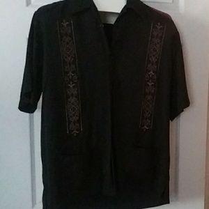 Black button-down blouse